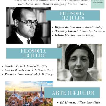 ¡Nuevo. 4 becas del 50 %! Curso de Verano Online «La persona en la cultura española» (12-16 de julio, 2021)